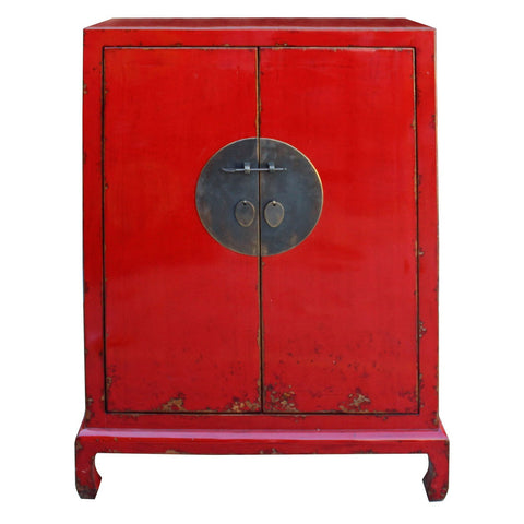 red half size moon face cabinet