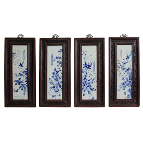 four porcelain blue and white painting