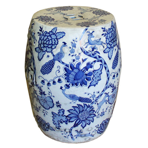 blue and white porcelain flower painting round stool