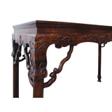 Chinese Brown Huali Rosewood Dragon Motif Round Apron Altar Table cs4534S