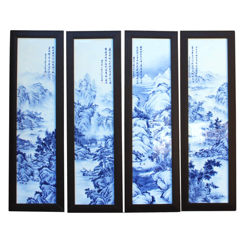 4 pieces porcelain wall art scenery