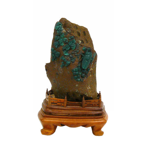 Chinese ShouShan Stone Green Cicada Display