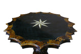 Vintage Old Shanghai Star Shape Marble Inlay Wood Mix Pedestal Table cs960S