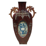 Chinese Vintage Vase Shape Lacquer Frame Porcelain Wood Wall Panels Art ws249S