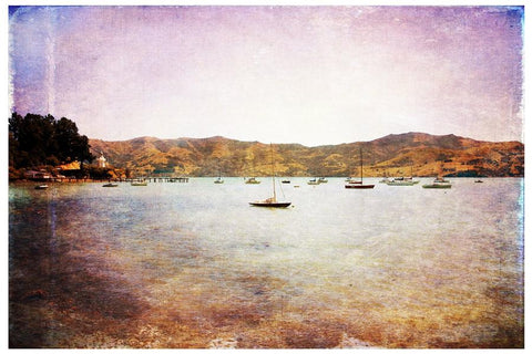 Textured art print of Akaroa Harbour