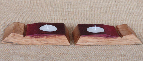 Barrel Stave Candle Holder - Pair