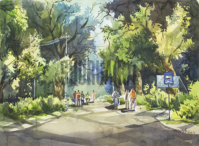 Painting of a BHU Campus Road
