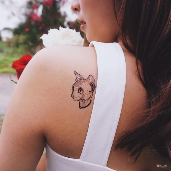 Hairless sphynx cat tattoo 無毛貓刺青紋身貼紙 LAZY DUO Tattoo Sticker 香港紋身貼紙 刺青圖案 紋身師 印刷訂做客製 Custom Temporary Tattoo artist HK tattoo shop Hong Kong 迷你刺青 韓式刺青紋身 small tattoo design Minimal Tattoo little tattoo idea sketchy tattoo floral tattoo ankle wrist tattoo back tattoo Taiwan