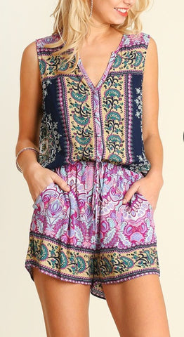 Sleeveless Printed Romper
