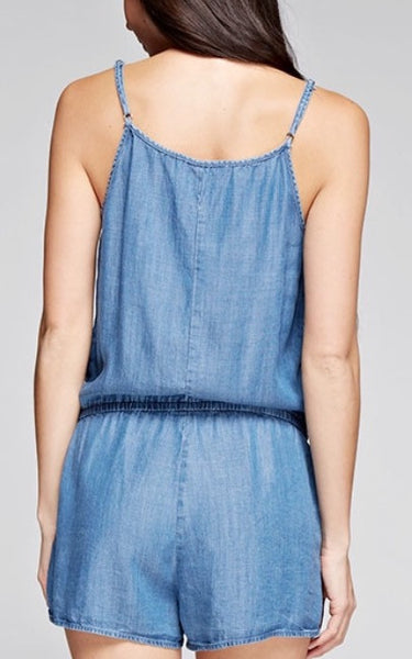 Vintage Wash Denim Romper