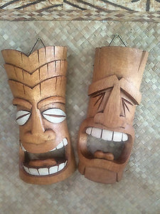 NEW Comedy and Tragedy Tiki Mask set bar not a mug Hawaii Smokin Tikis