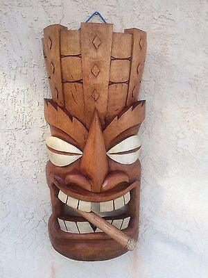 NEW almost 3' tall Giant Cigar Smoking Tiki Mask / Sconce Smokin Tikis  Hawaii