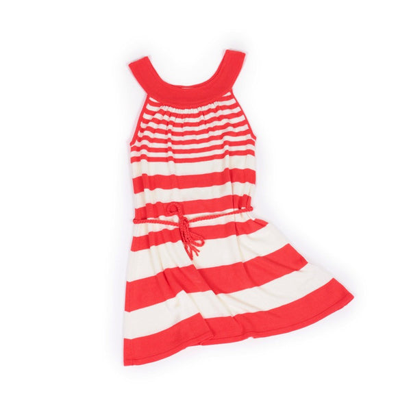 Front view of lightweight tunic dress with knitted belt. Soft bamboo fabric. Coral and white stripe.