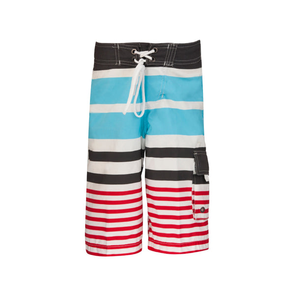 Classic surfer style long swim shorts in blue, red, charcoal and white stripe. Drawstring waist and large pocket to lower left leg.