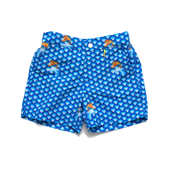 Vibrant blue wave pattern tailored swim shorts. Adjustable waist, contrast zip, side pockets, quick drying fabric