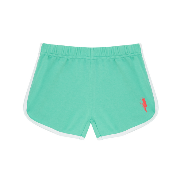 Cool kid bright green retro style shorts in super soft cotton. Neon pink lightning bolt embroidered on leg