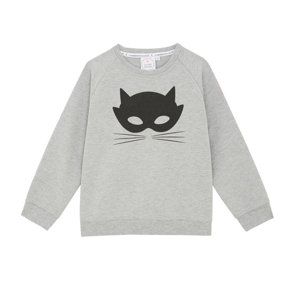 round neck unisex sweatshirt in grey with cute black cat mask graphic to front
