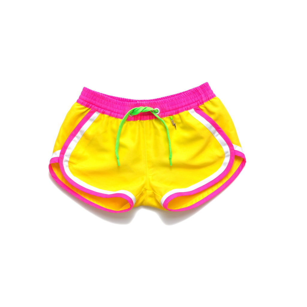 Funky boxer-style elasticated shorts with pockets. Vibrant sunshine yellow with contrast waistband, trim and tie. Quick dry fabric so great for on or off the beach