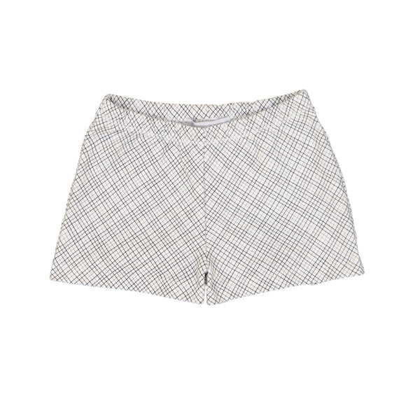 Unisex grey cotton shorts with allover criss cross pattern. Elasticated waist