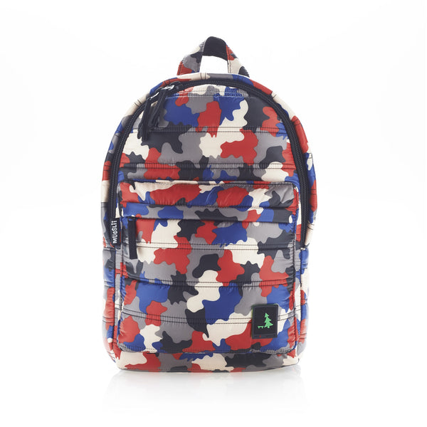 Front view of red/blue camo mid-size backpack. Made from durable nylon puffer material with quality components and a unique fastening system. Large main section and small front pocket