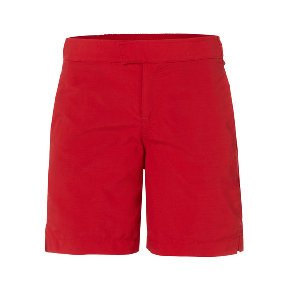 Effortlessly classic red tailored swim shorts with contast trim pockets. Elasticated waistband, lightweight and quick-drying UPF50+ fabric.