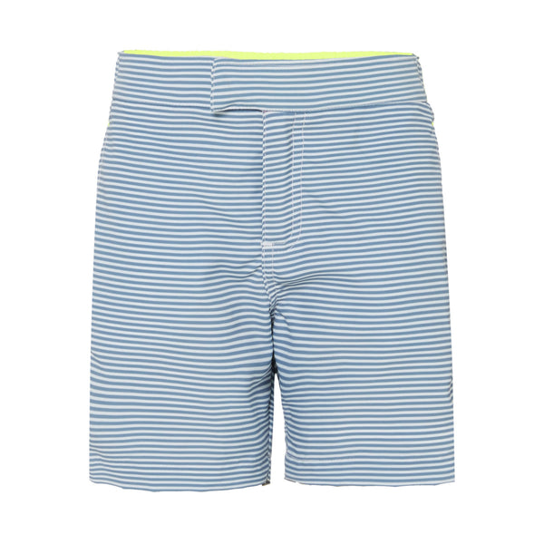 Stylishly practical tailored swim shorts in a classic nautical inspired navy and white stripe. Lightweight, quick-drying fabric with UPF50+ protection. Adjustable waistband. Fits small to size so consider one size up for perfect fit.