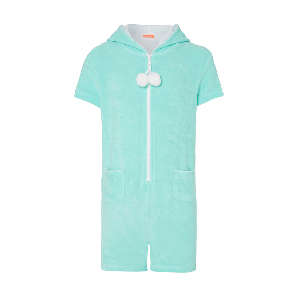 Cute minty aqua towelling onesie, great on the beach or post swim. Lightweight absorbent fabric with fun pom pom and stitch detailing.