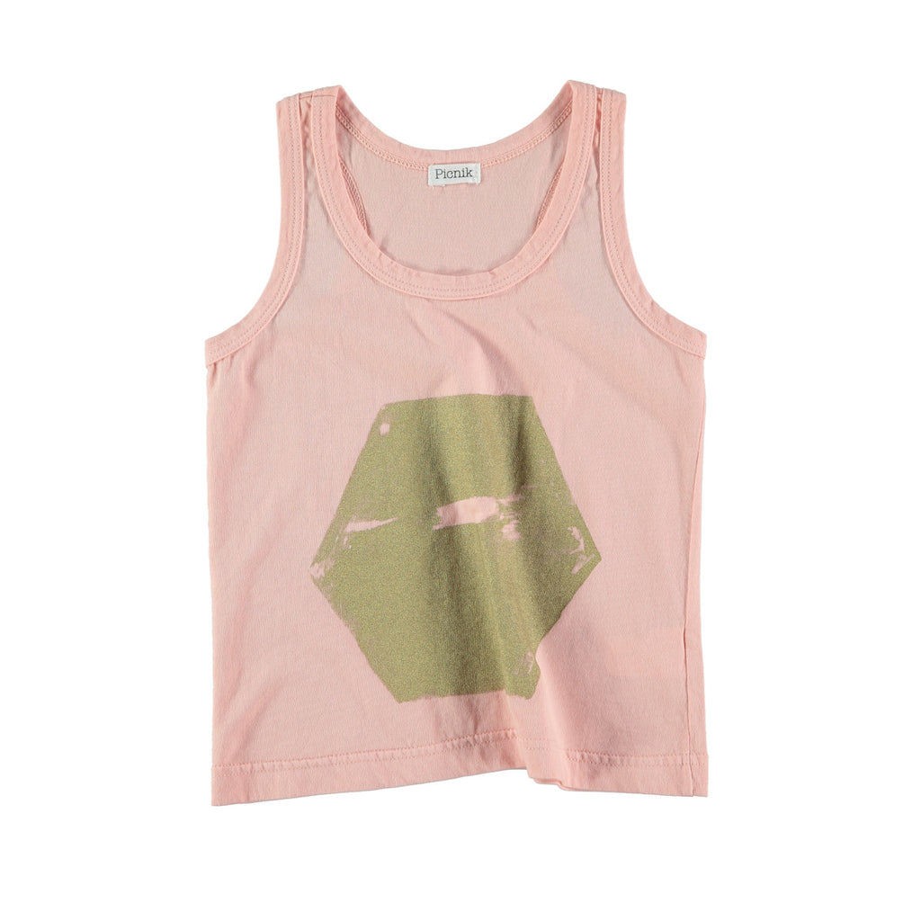 Pale pink cotton vest top with scratched gold hexagon graphic to front. 100% cotton