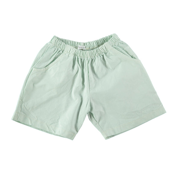 Cotton Bermuda shorts in mint green with 'picnik' design on reverse. 100% cotton with elasticated waist and side and back pockets