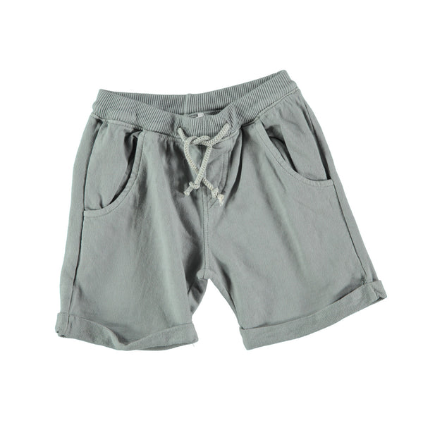 Jogger style cotton shorts in grey with 'picnik' design on back pocket. 100% cotton with loose turn up, elasticated waist and tie string to front. Pockets at side and back