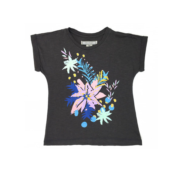 Super soft black t-shirt featuring a bold pastel tropical graphic to front