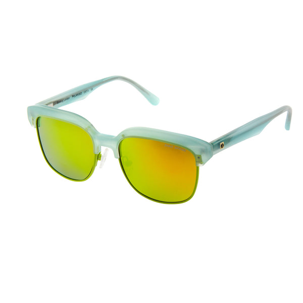 Aqua mint half frame sunglasses with yellow mirrored polarised lens. Handmade acetate frame.