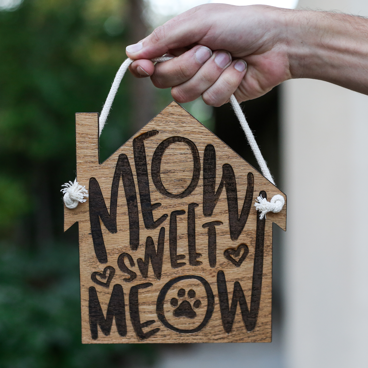 Alt Text: Brindle Market - Meow Sweet Meow Wooden Hanging