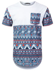 INDIGO Patterned Panel Pocket Longline Tee - URBANCREWS