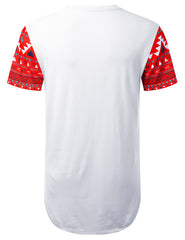 RED Patterned Panel Pocket Longline Tee - URBANCREWS