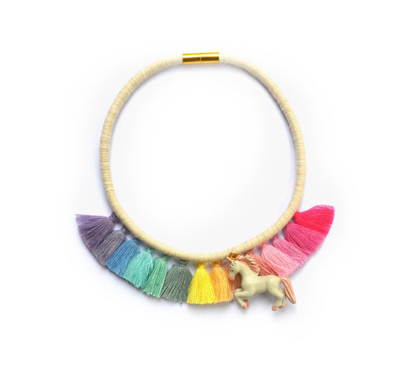 Rainbow Unicorn Tassel Necklace