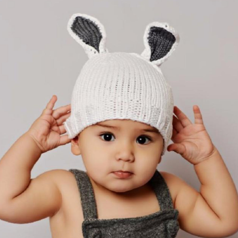 bamboo cotton blend white bunny hat with gray ears for baby infant toddler child for easter holiday