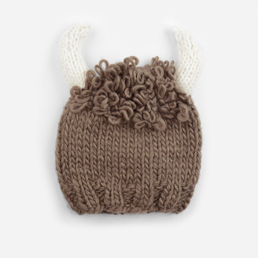 hand knit brown acrylic buffalo hat with white horns for baby infant toddler child