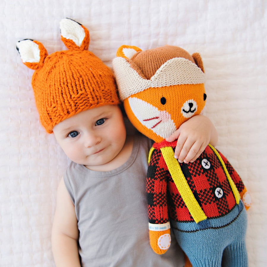 hand knit orange fox hat a for baby with white ears