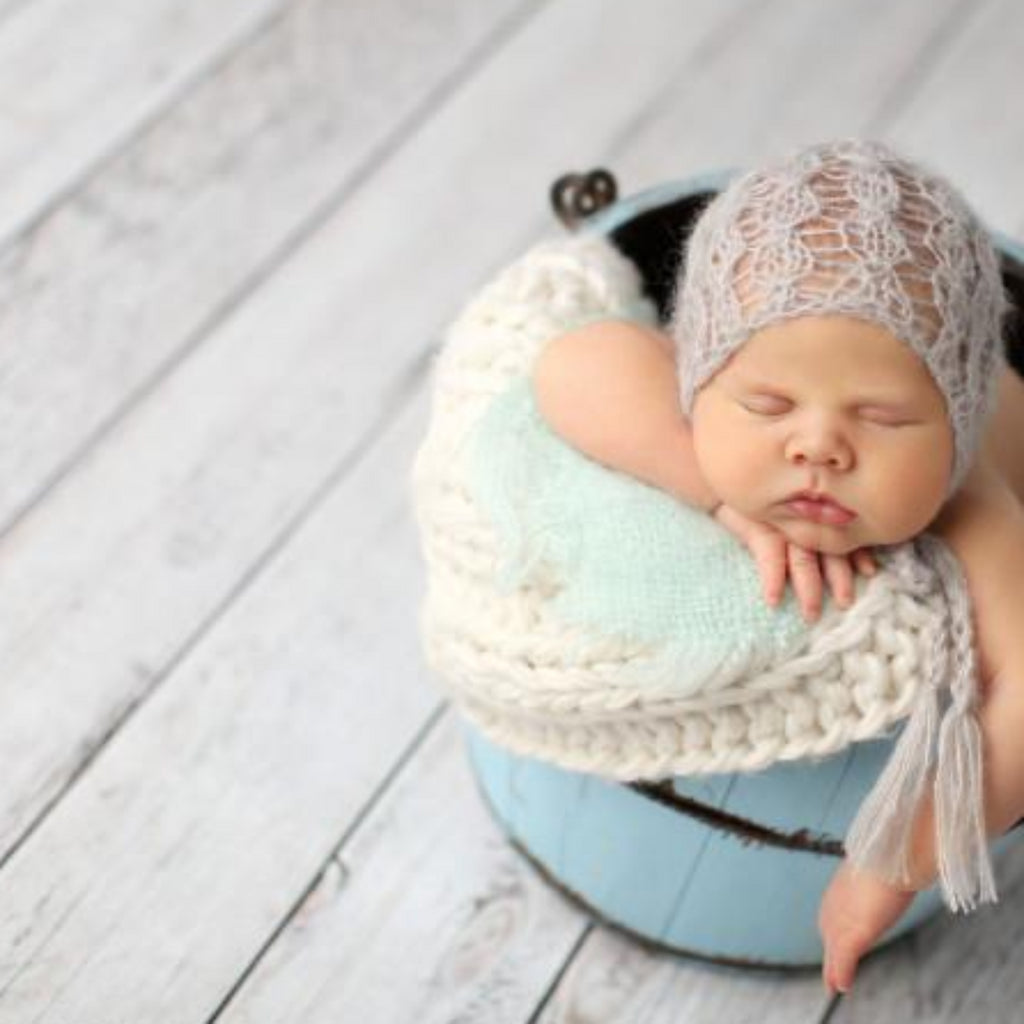 hand knit mohair newborn bonnet in gray