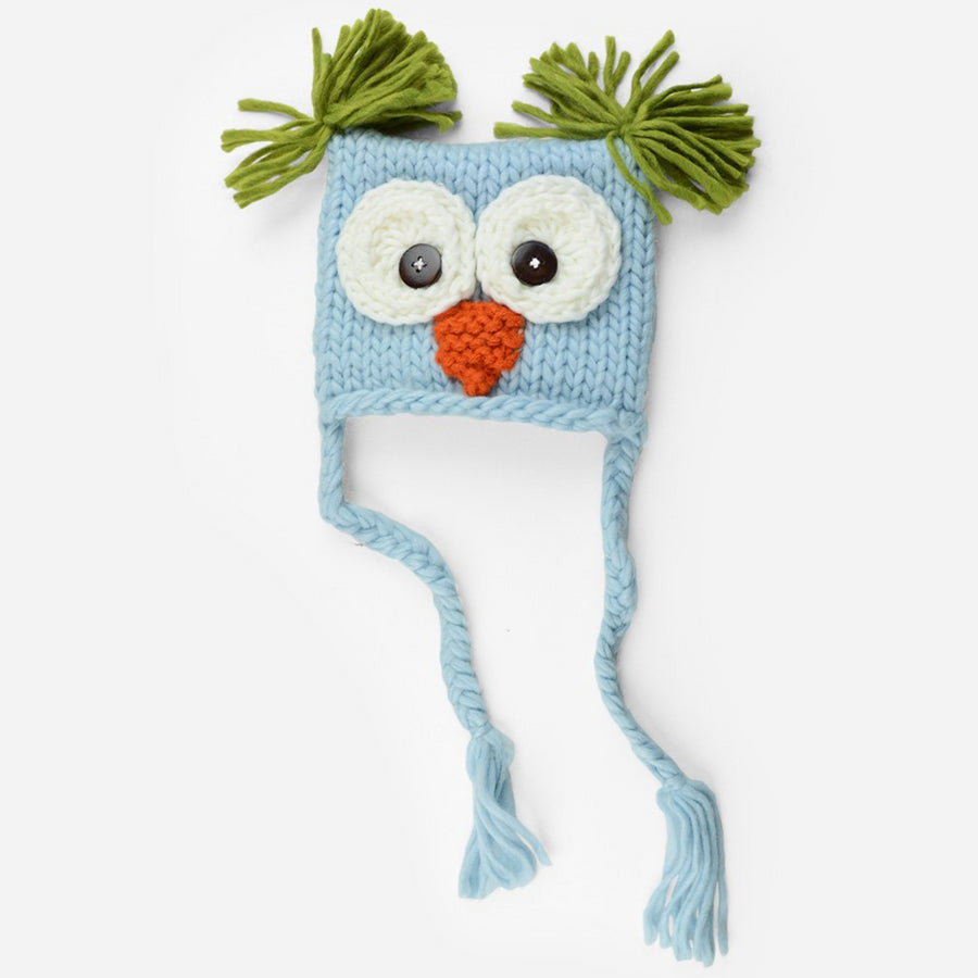 Hand Knit Owl hat with tassels and tufts in white