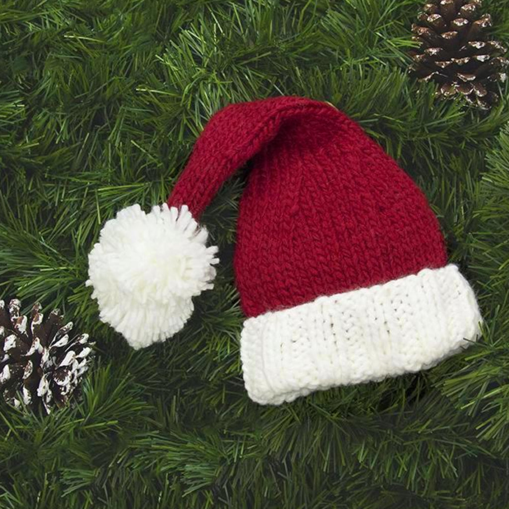 hand knit santa hat for baby and child in red and white