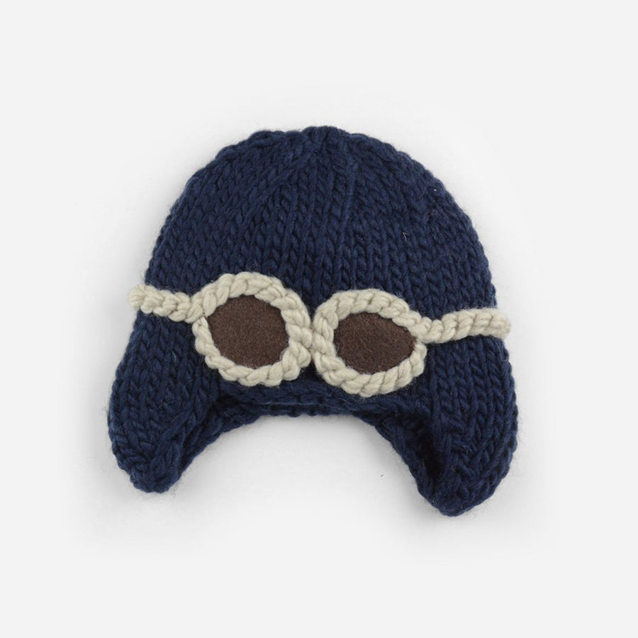 Navy blue aviator hat for baby with cream goggles extra small
