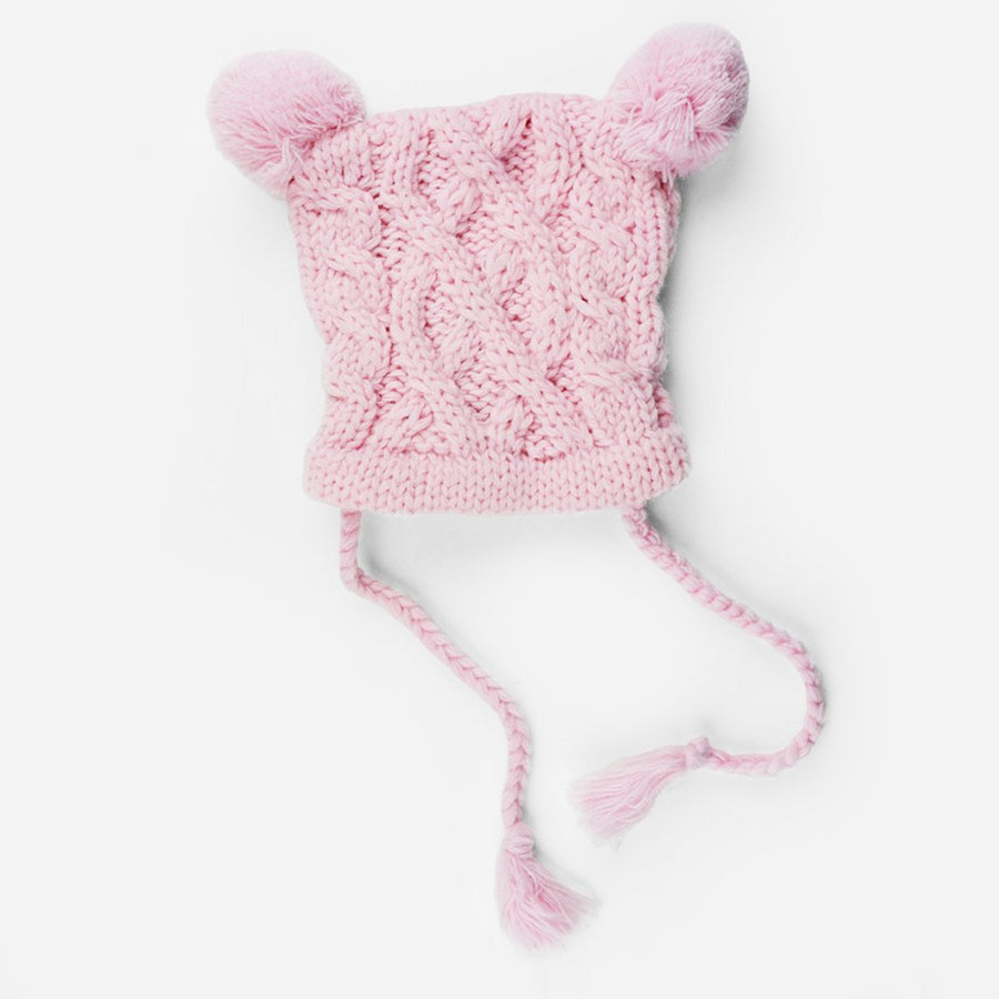 cable knit hat for baby with poms and tassels pink