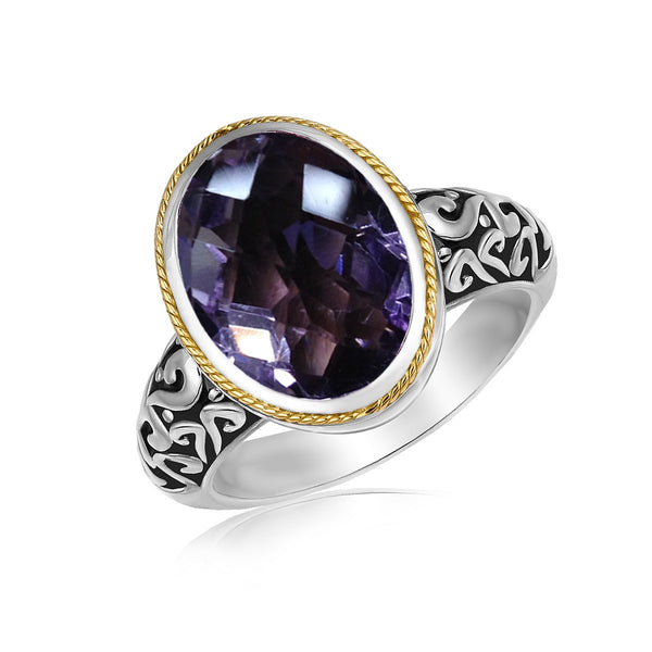 18k Yellow Gold and Sterling Silver Ring with a Pink Amethyst Stone