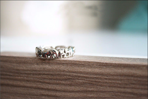 925 Sterling Silver Elephant ring Style Gift Idea Rocker Gothic Woman Jewelry -  Silver ring (SR-071)