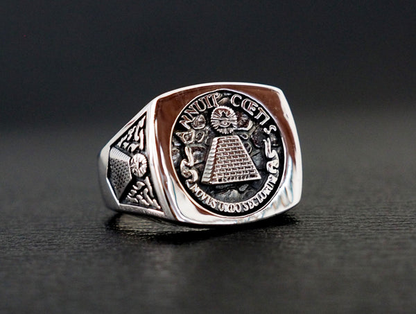 Masonic Annuit Coeptis Novus Ordo Seclorum ring 925 Sterling Silver Size 6-15