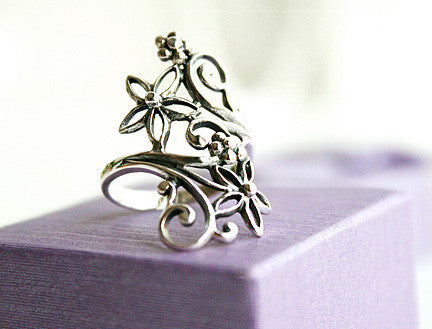 925 Sterling Silver flower Ring Style Gift Idea Rocker Gothic Woman Jewelry -  Silver ring (SR-043)