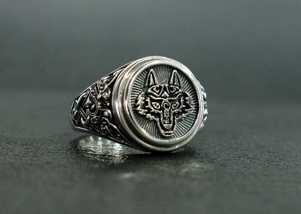 Fenrir Wolf Head Ring, Wolf ring, Wolf head ring, Viking Wolf Head Ring Norse Celtic Pagan Jewelry 925 Sterling Silver Size 6-15