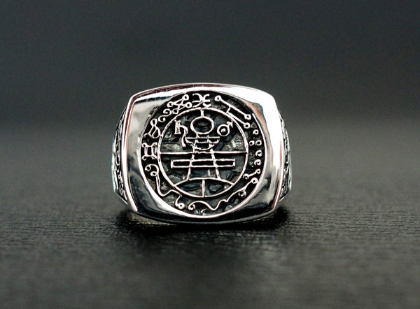 Seal of Solomon Ring, Secret Seal of King Solomon ring 925 Sterling Silver Size 6-15
